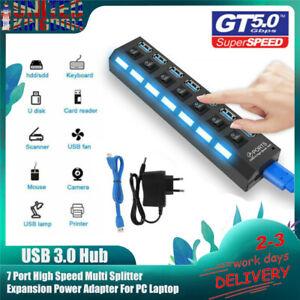 USB 3.0 Hub High Speed Multi Splitter Expansion Power Adapter For PC Laptop UK
