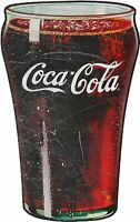 COCA COLA FULL GLASS OF COKE HEAVY DUTY USA MADE METAL SODA POP ADVERTISING SIGN