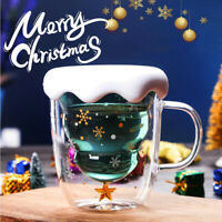 Funny Coffee Mugs Double Wall Cups Anti-Scalding Christmas Glass Milk Tea Cup