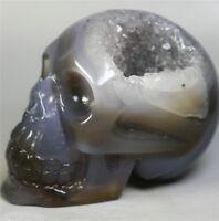 Natural Agate Geode crystal gemstone Carved Skull Cluster Skeleton Healing 319g