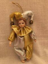 """Harlequin Jester Gold & Silver Doll With Bells 5"""" Christmas Ornament"""