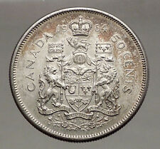 1964 CANADA under Queen Elizabeth II SILVER 50 Cents Canadian Coin Arms i56631