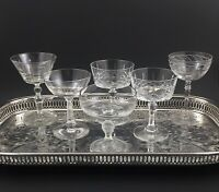 6 ~ Vintage Cut & Etched Crystal Champagne Glasses Coupes Mixed Stemware Set