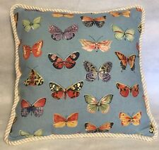 Provence French Country Cottage Pillow Yellow Blue White Floral Butterfly Farm