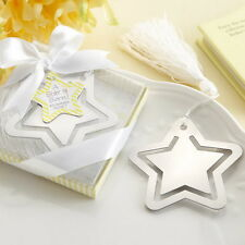 5PCs Stainless Steel Star Personalised Bookmark Silver Tone Present Gift