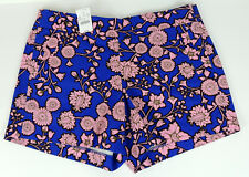 J.CREW Womens Size 2 Blue & Pink Floral City Fit Chino Shorts NEW $44.50