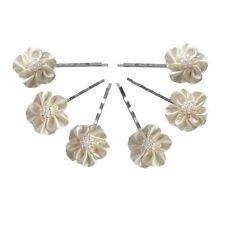 6 épingles pinces plates cheveux mariage fleur satin ivoire perles nacrées blanc