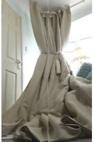 """NEW! Heavy 55"""" Wide 93"""" Long Natural 100%Irish Linen Cotton Lined Bay Curtains"""