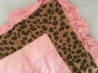"Pink Leopard Print Pillow Sham Company Kids Store 16"" square NEW Soft pink"