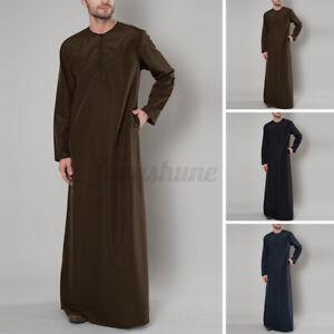 UK Muslim Men Kaftan Saudi Arab Jubba Full Sleeve Kaftan Tunic Maxi Dress Shirts