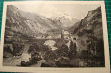 St. Moritz bridge antique print 1892 holzstich Sankt