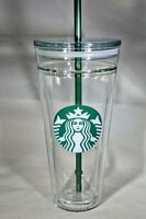 RARE NEW 2016 Starbucks VENTI 20oz CLEAR GLASS Double Wall Cold Tumbler Cup