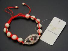 $18 *W Stones & Beads* White Howlite &  Evil Eye Beaded Shamballa Bracelet