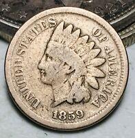 1859 Indian Head Cent Penny CN 1C Ungraded Civil War Era US Copper Coin CC7103