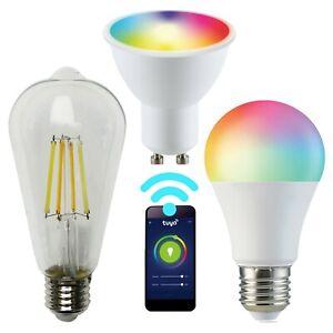 LED Wifi Smart Bulbs, RGB CCT, GU10/E27 (A60/ST64) Dimmable, Connect with Tuya