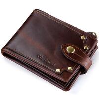 Retro Men's Genuine Leather Wallet ID Credit Card Holder ZIP Bifold Pocket Purse