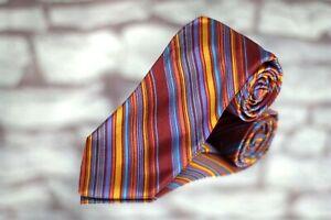 Barneys New York Men's Tie Red Blue Orange Colorful Stripe Woven Silk Necktie