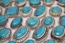 wholesale jewelry 5pcs Big natural turquoise gemstone Tibet silver P Rings FREE
