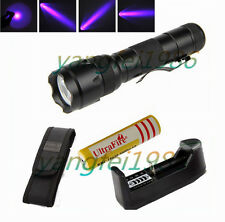 3W UltraFire WF-502B UV 395NM LED Flashlight Torch+18650 5000mAh Battery Charger