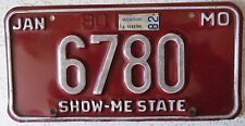 Missouri 1982 LOW NUMBER License Plate NICE QUALITY # 6780