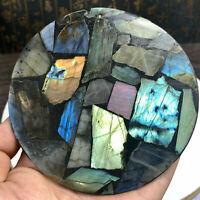top! Natural Labradorite Disc Quartz Crystal Spectrolite Reiki Healing 1PC 80g+