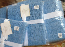 Pottery Barn Belgian Flax Floral Quilt Set French Blue King 2 King Shams Linen