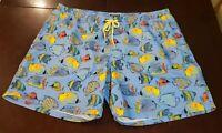 New Club Room Mens Tropical Fish Swim Trunks Shorts w/ Mesh Liner XXL