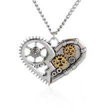 Steampunk Heart Necklace Pendant Gears Industrial