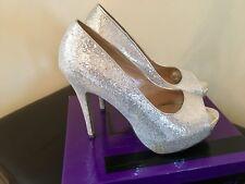 Linzi Silver Sparkle Bling Tacones Altos Plataformas Peep Toe Tribunal Zapatos Bombas 40 7