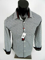 Mens Platini Casual Slim Fit Shirt Black and White Faded Checks Button Front