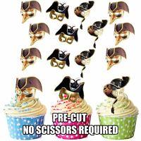 PRECUT Masquerade Masks Black Gold Party Ball Edible Cupcake Toppers Decorations