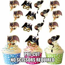 Precut Masquerade Maschere Black Gold Partito Palla Decorazioni Commestibili Cupcake Topper