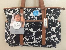 CARTER'S Studio Tote Diaper Bag Black/White/Brown Storage pockets Flowers Unisex