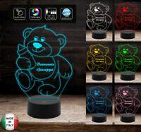 Luce da notte bambini Lampada led personalizzata 7 colori selezionabili ORSETTO