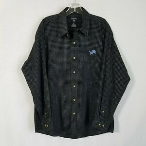 Antigua Mens Detroit Lions Button Front Long Sleeve Casual Shirt Sz Medium TPB16