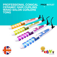 Professional Conical Ceramic Hair Curling Wand Salon Curlers Tong Styler UK E21