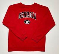 Georgia Bulldogs Genuine Stuff Mens Sweatshirt Red Pullover Crew Neck Graphic L