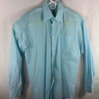 Peter Millar Men's Medium Blue Check Long Sleeve 100pc Cotton Shirt