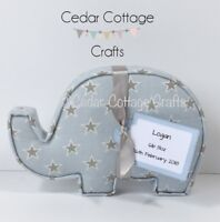 Fabric Elephant Letters Wall Art Handmade Nursery name, personalised, gift tag,