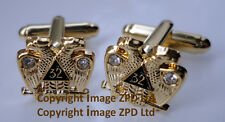 ZP363 Freemason Scottish Rite 32 degree Twin Head Eagle Cufflinks with Crystals