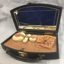 Mid-Century A Goertz & Co Locking Lizard Leather Mirrored Traveling Make-Up Case