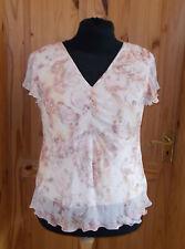 AUTONOMY cream oatmeal beige dusky pink floral chiffon short sleeve tunic top 18