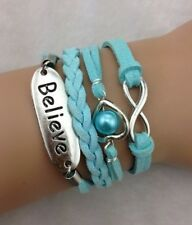 NEW Infinity  Believe Heart Pearl Leather Charm Bracelet plated Silver DIY !!!!!