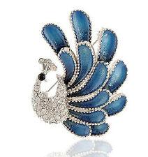 Amazing Dark Blue & Silver Rhinestones Corsage Peacock Brooch Pin BR92