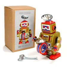 TIN TOY ROBOT Wind Up Metal Vintage Style Gold Gift NIB Cosmic SpaceCollectible