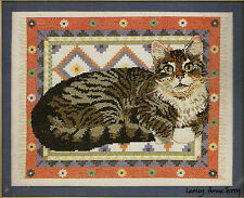 "Ivory Cats ""Gemma on a Dhurrie"" Counted Cross Stitch Kit"