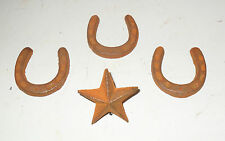 LOT of Rustic TEXAS tiny HORSESHOES & NAIL STAR WESTERN items - wall Decor