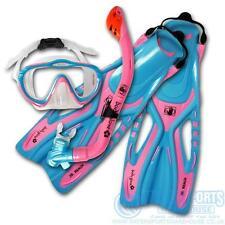 BodyGlove Childrens Kids Snorkel Flipper Set SILICONE RRP £32 Uk Jnr 1-4 Pink