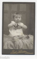 "1910 CDV PHOTO CHILD W/ TIN WINDUP TOY CAR LEHMANN ""NAUGHTY BOY VIS-A-VIS"""