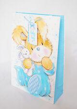 Beautiful New Baby Boy Gift Bag Medium Cute Bunny Luxury Blue Him Wrap M
